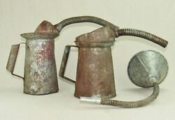 Vintage Galvanized Oil Cans And Funnel Gas Station