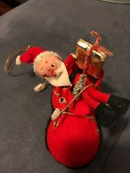 """Vintage Felt Santa-in-a-Shoe Ornament with Cloth Face - 4"""""""