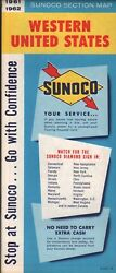 1961 Sunoco Road Map Western United States Nos