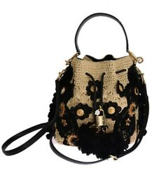 DOLCE & GABBANA BLACK BEIGE CRYSTAL BUCKET SNAKESKIN STRAW BAG