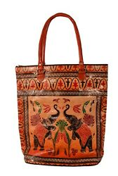 Royal Elephant Design Vintage Indian Shantiniketan Pure Leather Tote Bag