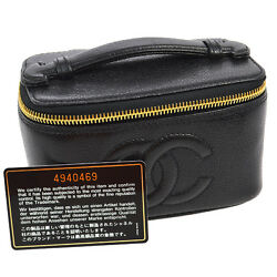 Auth CHANEL CC Mini Cosmetic Hand Bag Vanity Black Caviar Skin Leather A35620c