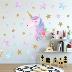 Unicorn Hearts Stars Wall Art Stickers Removable Kids Living Room Decor DIY