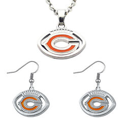 Chicago Bears Football Shaped Team Logo Necklace And Earring Womens Jewelry Set