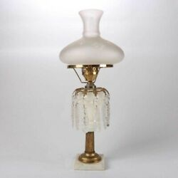 Vintage Antique Victorian Astral Oil Lamp With Gilted Bronze Decoration And Prisms