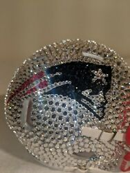 Pre-owned Nfl New England Patriots Mini Football Helmet With Andreg Crystals