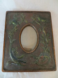 Antique Wooden Leather Embossed Picture Frame 1880and039s Frogs Fish - Unique Rare