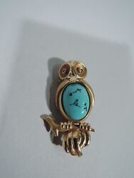 Antique Brooch - Art Deco Modern Wise Owl Pin - American 18k Gold And Turquoise