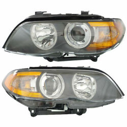 Set Of 2 Lh And Rh Side Halogen Head Lamp Lens And Housing Fits 2004-2006 Bmw X5