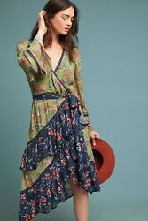 Nwt 395 Anthropologie Williston Floral Printed Wrap Dress By Love Sam Xs