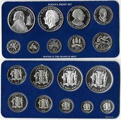 Jamaica Proof Set 1977 Franklin Mint With Silver 5 And 10 Dollars + Coa In Box