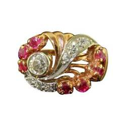 Vintage 1950s Rose Gold Ruby And Diamond Cocktail Ring