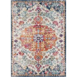 New Hillsby Blue/orange Distressed Look Persian Style Area Rug 9' X 12' Durable