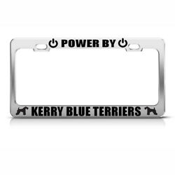 Powered By Kerry Blue Terriers Steel Metal License Plate Frame