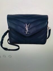 Saint Laurent YSL Toy Lou Lou Denim Blue Crossbody Flap Bag NWT