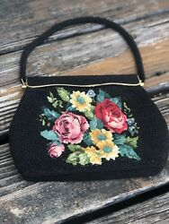 Vintage Black Floral Bead Embroidery Needlework Purse Evening Bag Clutch 50s 60s