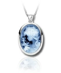 Sterling Silver And Blue Agate Fairy Cameo Funeral Cremation Urn Pendant W/chain