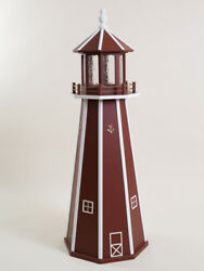 Lighthouse- Red W/ White Trim Wooden W/light In 3 Ft 4 Ft Or 5 Ft - Amish Made