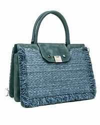 Jimmy Choo Rebel Tote with Raffia Suede Blue Dusk RFD181 Jimmy Choo Front Clasp