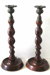 Antique Twisted Wood Detailed Brass Candle Sticks Exquisite Christmas 12 Pair