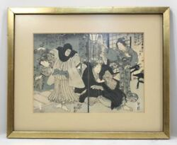 Antique Japanese Woodblock Print Samurai Play Poetry. Book Pages Rare