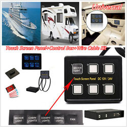 6 Gang LED Touch Screen Switch Panel Slim wControl Box Kit Car RV Marine 1224V