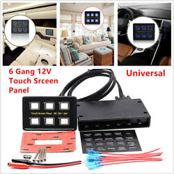 6 Gang LED Touch Screen Switch Panel Slim + Control Box+Wiring Car Truck Marine