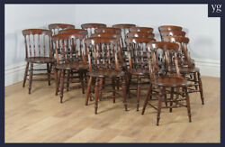 Antique Set Sixteen 16 Victorian Ash Elm Spindle Bar Back Kitchen Dining Chairs