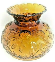 Old 60and039s-70and039s Vintage Amber Glass Lamps Globe Chimney Shade Raised Floral