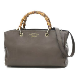 GUCCI Bamboo Shopper Medium Tote Leather Gray 323660 Free Shipping