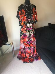 Temperley London Strappy Myrtle Black Red Multi Poppy Dress Bnwt 16 Sold Out
