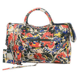 BALENCIAGA The City 2 Way Bag Flower Design Leather White  Multi Color 11...