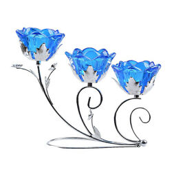 Candle Holder 3 Arms Bloom Blue Flower Tealight Candleholders New Wedding Decor