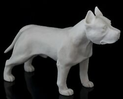 Staffordshire Pit Bull Terrier Marble Statue Dog Figurine White Stone Sculpture