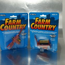 2 Ertl, Farm Country Diecast Toys New Holland Mower Conditioner And Square Baler
