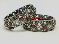 Solid 925 Sterling Silver Uncut Diamond Polki And Ruby 2 Pcs Victorian Bangle