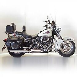 Dandd Fat Cat Black 21 Full Exhaust Wrapped Baffle Harley Heritage Softail 84-17