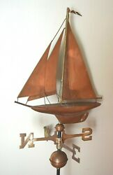 Rare Antique Weathervane With Figural Sailing Ship Incredible