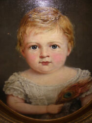 Antique 1800s 19th American School Little Girl Peacock Feather Portrait Painting