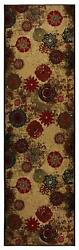 Antibacterial Custom Size Non Skid Floral Abstract Design Beige Runner Rug 26 W