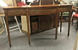Vintage Wellington Hall Reproduction Floral Adams Decorated Satinwood Sideboard