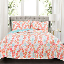 Lush Decor Dina Coral Blue and Coral FullQueen Three-Piece Quilt Set