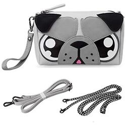 Cute Shoulder Bags Animal Dog Puppy Face Purse For Girls Teens Women - 3 Straps