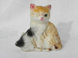 """Vintage Ceramic Pair of Cats or Kittens Figure marked """"Japan"""""""