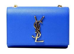 Saint Laurent YSL Blue Gold Hardware Leather Shoulder Bag Cross Body Bag 354121