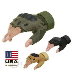 Outdoor Army Military Tactical Motorcycle Hunt Hard Knuckle Half Finger Gloves $8.99