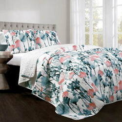 Lush Decor Zuri Flora Blue and Coral FullQueen Three-Piece Quilt Set