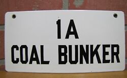 Old Porcelain Coal Bunker 1a Industrial Plant Sign Black And White Fuel Oil Safety