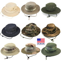 Boonie Bucket Hats Outdoor Fishing Hunting Wide Brim Mesh Camo Safari Sun Cap $8.98