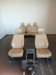 11-16 FORD F250 F350 FRONT REAR SEAT CONSOLE TAN LATHER POWER